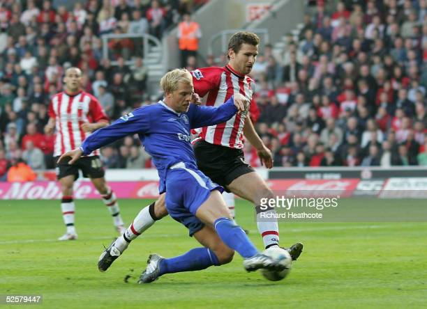 Eidur Gudjohnsen of Chelsea scores the third goal during the FA Barclays Premiership match between Southampton and Chelsea held at St Marys Stadium...