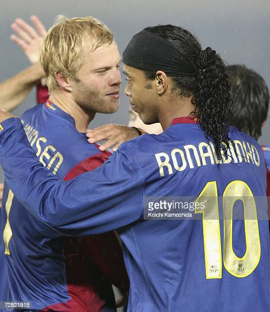 Eidur Gudjohnsen of FC Barcelona celebrates with Ronaldinho after scoring goal during the FIFA Club World Cup Japan 2006 Semifinals between FC...