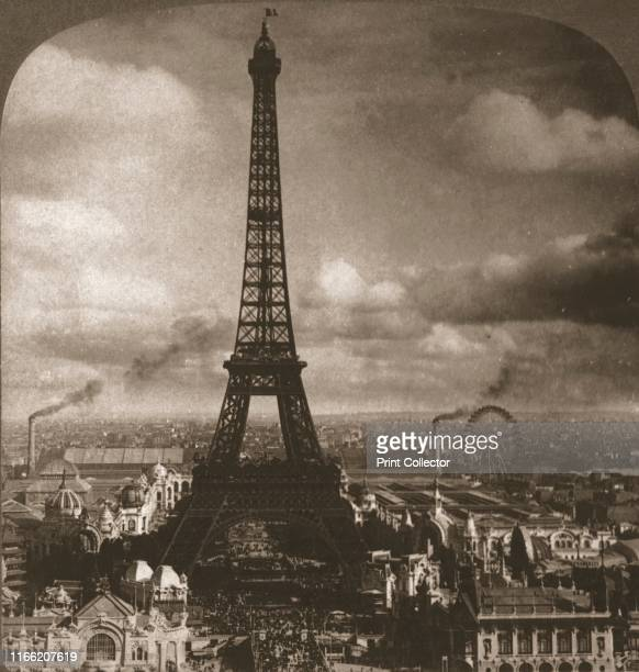"""Eiffel Tower, 300 meters high, across the Seine from the Trocadero, Paris, France', 1901. From """"Underwood and Underwood Publishers, New..."""