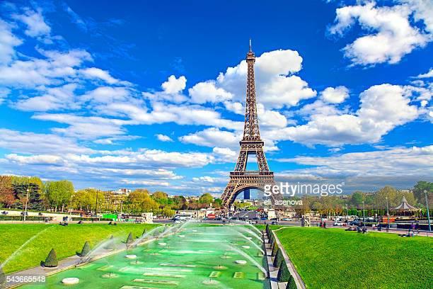 Eiffel Tower and fountain, Paris, France