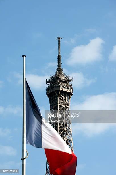 エッフェル塔、パリ、フランスの国旗