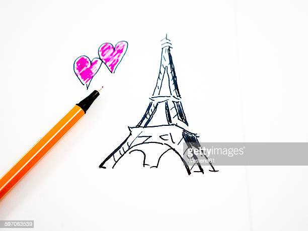 Eiffel Tower and hearts, drawn, pencil