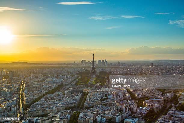 Eiffel Tower and Paris skyline at sunset