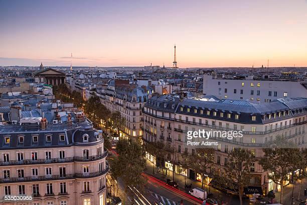 Eiffel Tower and Paris skyline, dusk