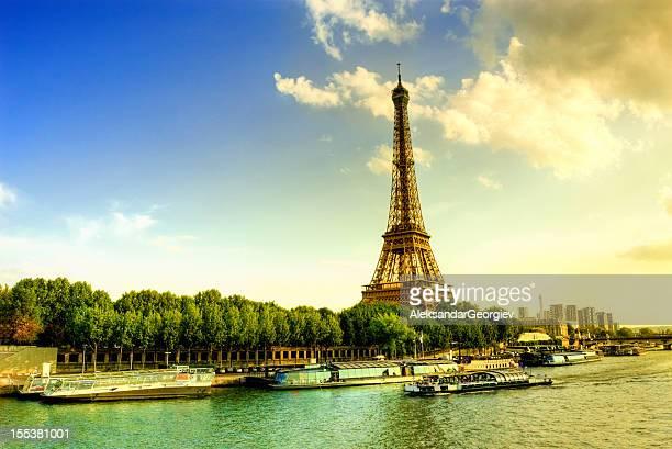 Eiffel Tower and Quay Seine River