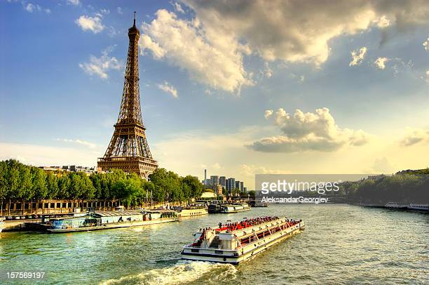 Eiffel Tower and Quay Seine River