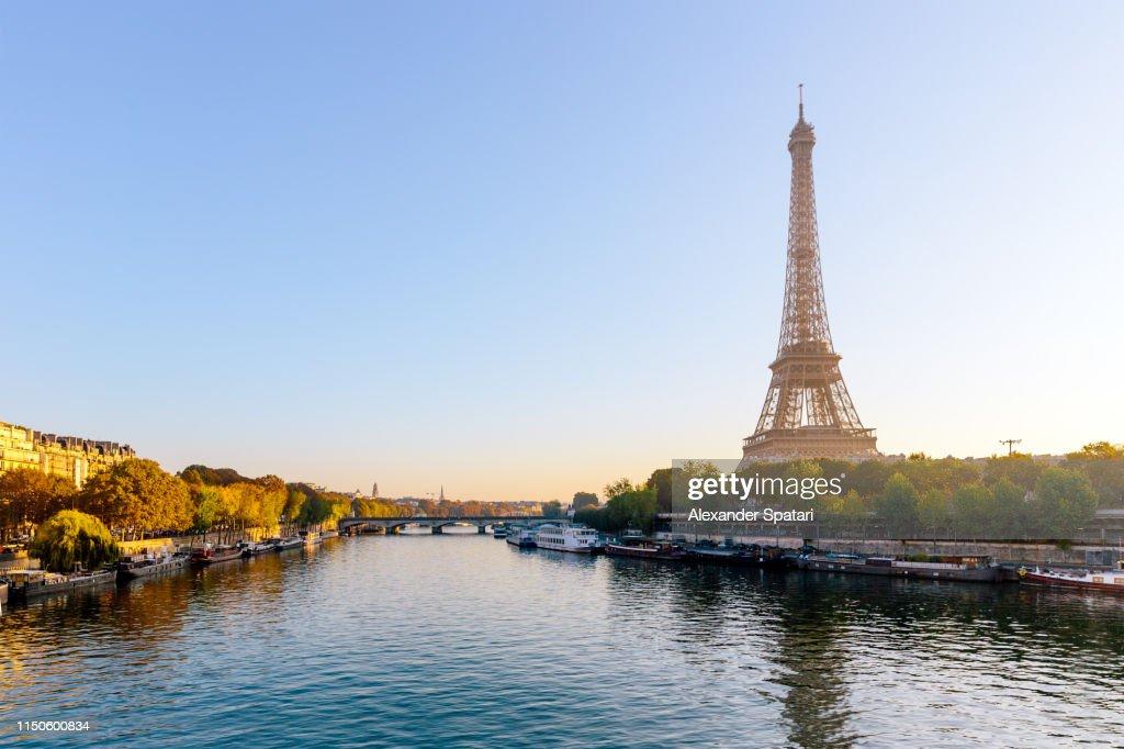 Eiffel Tower and Seine river at sunrise, Paris, France : Stock Photo
