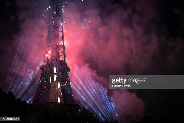 Eiffel Tower as seen from the Seine during the fireworks of July 14 national holiday for the liberation of France The Eiffel tower is the most famous...