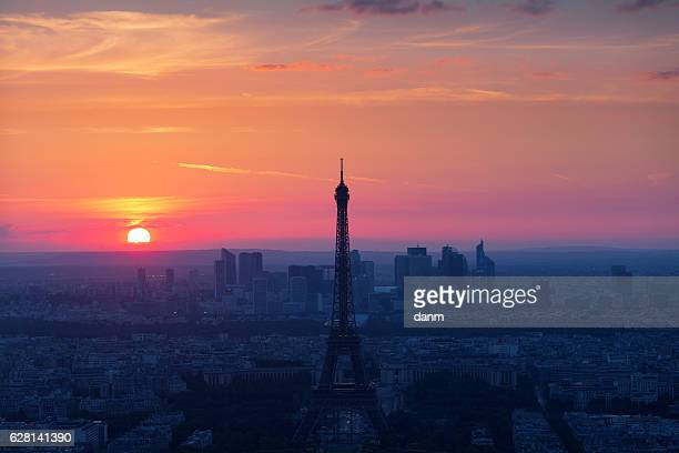 Eiffel Tower at sunset view from above in Paris