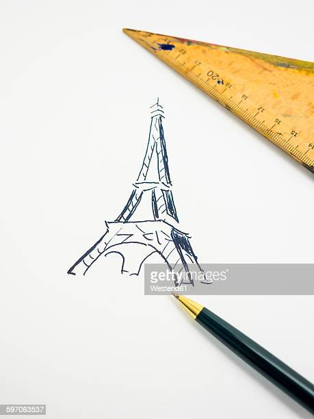 Eiffel Tower, drawn, triangle and pencil