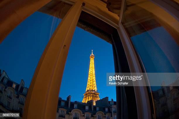 Eiffel Tower from apartment window 7th Arrondissement Paris Fisheye image dusk