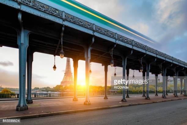Eiffel tower from Bir Hakem bridge at dusk, Paris, France