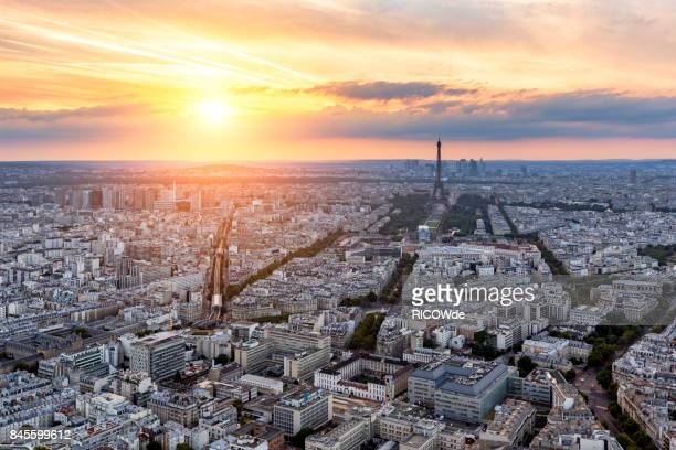 eiffel tower from montparnasse - place charles de gaulle paris stock photos and pictures