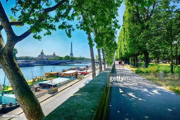 eiffel tower from the river seine in paris, france - fluss seine stock-fotos und bilder