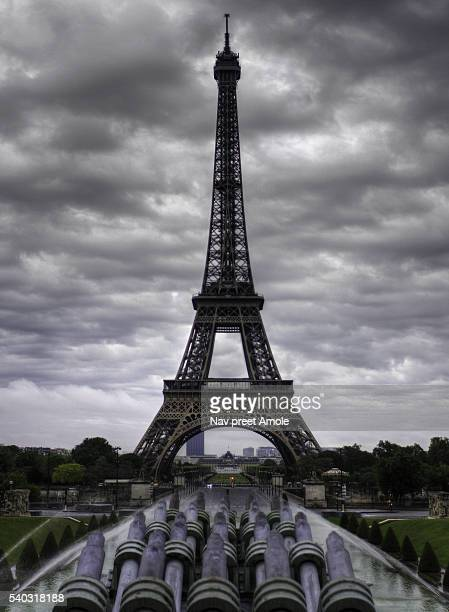 Eiffel Tower from Trocadero Garden on a cloudy morning