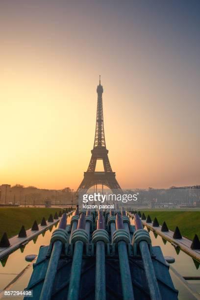 Eiffel tower in Paris at dawn , France