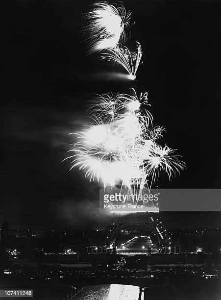 Eiffel Tower In Paris Firework On July 14Th 1939