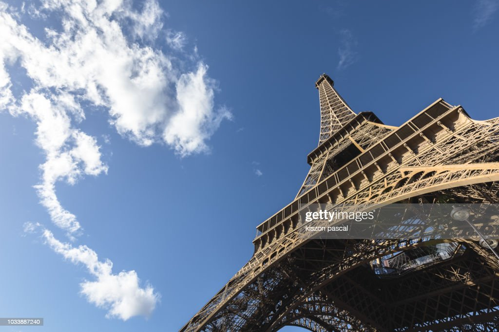 Eiffel tower in Paris view from the bottom , France : Stock Photo