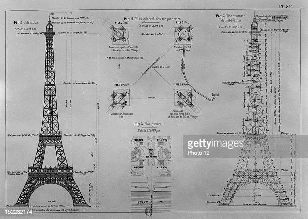 Eiffel tower plan Paris Gustave Eiffel 'Eiffel tower in 1900' 'La tour Eiffel en 1900' FranceParis Bibliotheque Nationale
