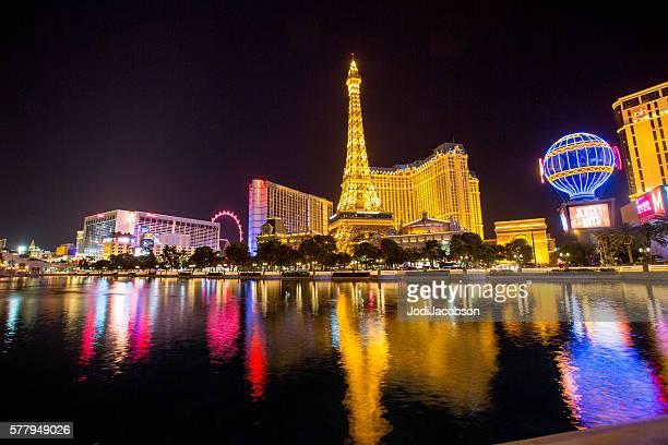 Eiffel Tower Replica and Las Vegas skyline at night