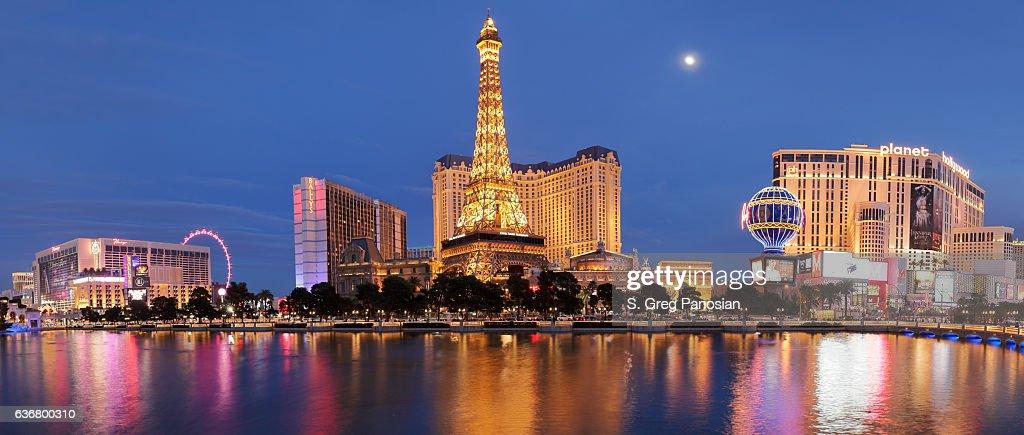 Eiffel Tower Replica + Hotels - Las Vegas Strip : Stock Photo