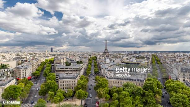 Eiffel tower seen from the Arc de Triomphe