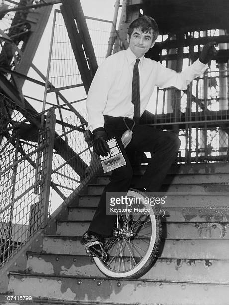 Eiffel Tower Stairs Descent By Unicycle On December 12 1966