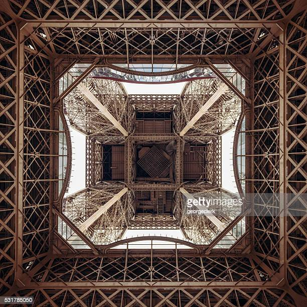 La estructura de la Torre Eiffel desde directamente debajo