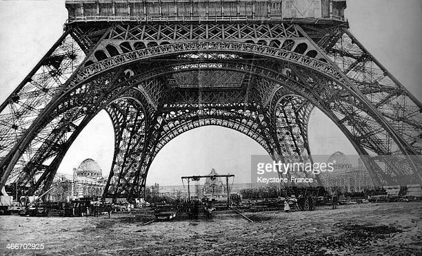 Eiffel Tower under construction in 1889 in Paris, France.