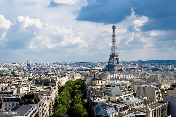 eiffel tower view from arc de triomphe - place charles de gaulle paris stock photos and pictures