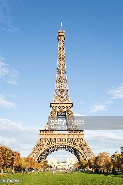 Eiffel tower with blue sky, Paris, France