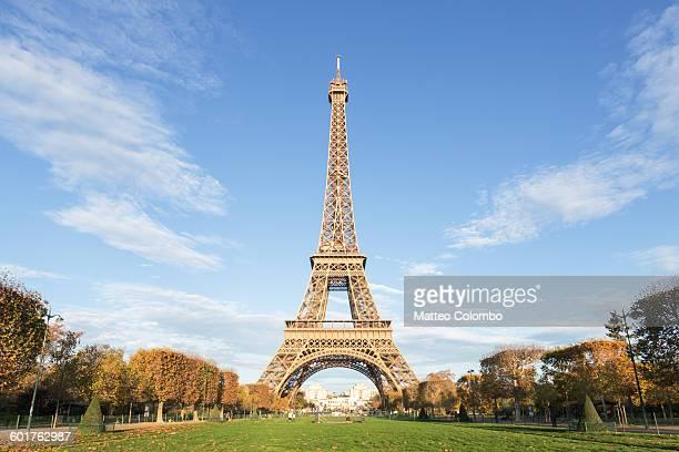 Eiffel tower with blue sky, Paris, France