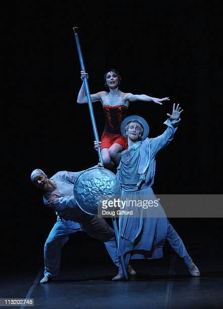 Eifman Ballet of St Petersburg dancers Alexander Melkaev Anastasia Sitnikova and Sergey Volobuev perform Don Quixote at the Segerstrom Center for the...