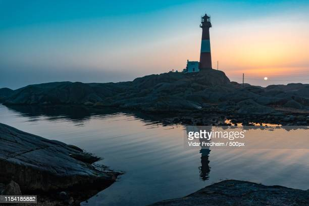 eigerøy lighthouse (norway) - egersund stock photos and pictures