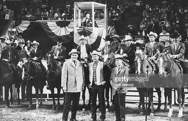 JAN 16 1969 JAN 17 1969 Eight 1968 Champions Of The Rodeo Cowboys Association Receive Ovation After Being Introduced At National Western Rodeo...
