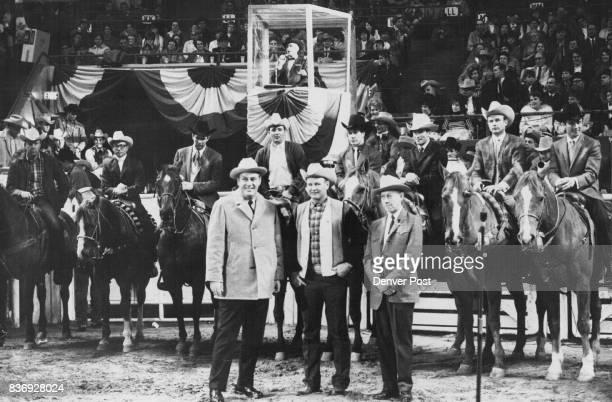 Eight 1968 Champions of the Rodeo Cowboys Association Receive Ovation After Being Introduced At National Western Rodeo Thursday Night Standing in...