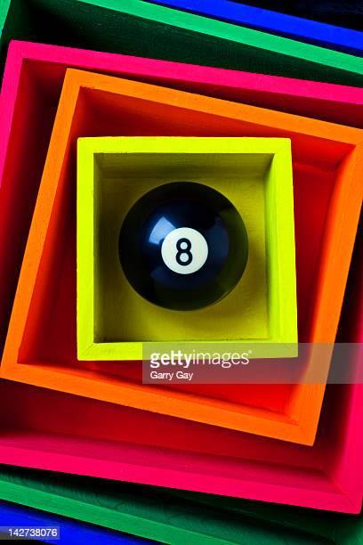 Eight ball in yellow box