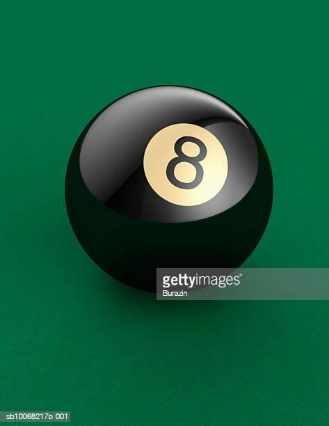 Eight ball on pool table