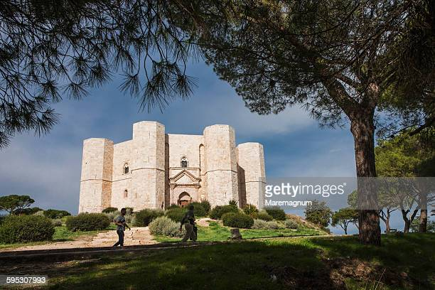 eight cornered castle with eight cornered towers - castel del monte foto e immagini stock