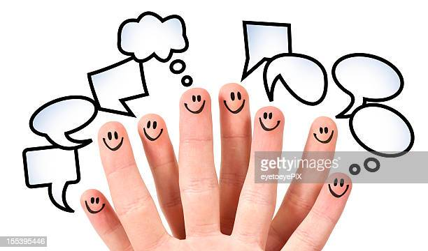 Eight fingers with smiley faces and speech bubbles