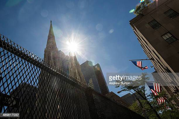 Eight foot tall security fences block people's access from St Patrick's Cathedral on September 24 2015 in New York City Pope Francis will speak...