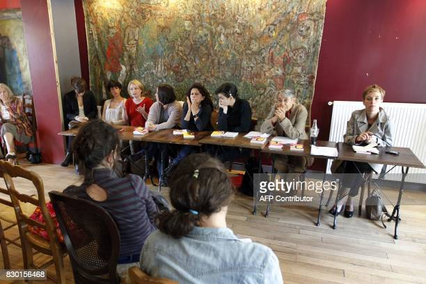 Eight French feminist activists take part in a press conference to present a collection of texts and opinion columns issued during the exIMF...