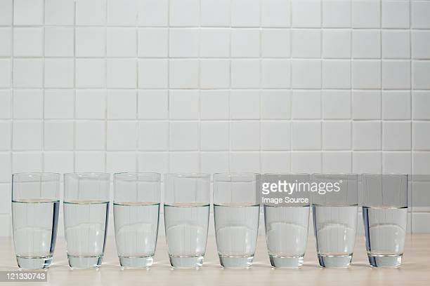 Eight glasses of mineral water