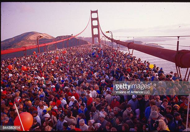 Eight hundred thousand people crowded onto the Golden Gate Bridge to celebrate its 50th anniversary. San Francisco, California, May 24, 1987.