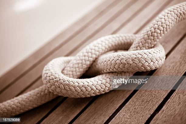 Eight knot on a sail boat deck