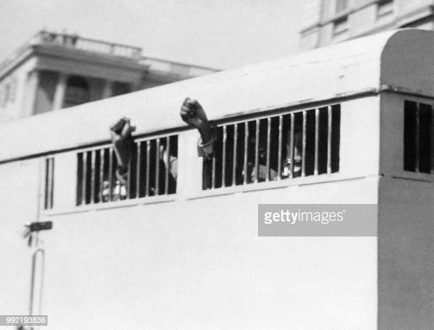 Eight men among them antiapartheid leader and African National Congress member Nelson Mandela sentenced to life imprisonment in the Rivonia trial...