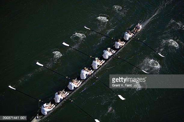 Eight men sweep rowing race, elevated view