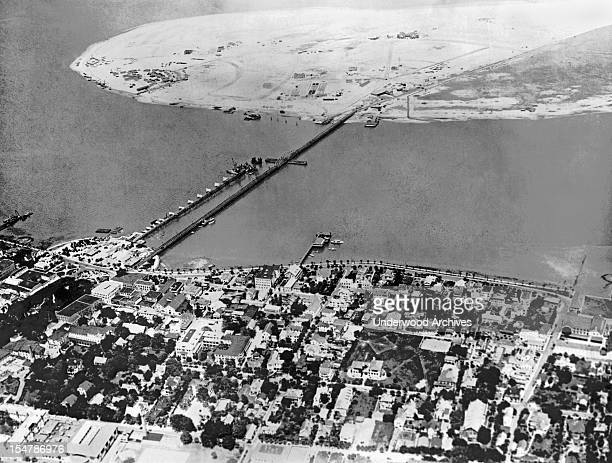 Eight months ago the island at the top of the photo was prime oyster beds in Matanzas Bay in St Augustine Florida July 12 1926 Developer DP Davis...
