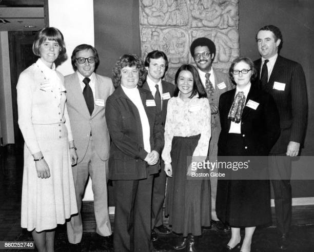 Eight of the 10 men and woman selected as the area's Outstanding Young Leaders of 1979 gather for a reception at the Harvard Club cosponsored by the...
