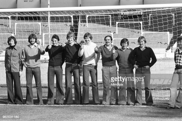 Eight of the Everton side to play in the League Cup Final match against Aston Villa pictured in the goalmouth at Wembley Stadium George Telfer Roger...